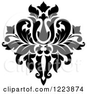 Clipart Of A Black And White Floral Damask Design 21 Royalty Free Vector Illustration