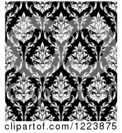 Clipart Of A Seamless Pattern Of Damask In Black And White Royalty Free Vector Illustration