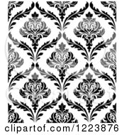Clipart Of A Seamless Pattern Of Damask In Black And White 2 Royalty Free Vector Illustration