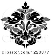 Clipart Of A Black And White Floral Damask Design 24 Royalty Free Vector Illustration