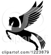 Clipart Of A Black And White Winged Horse Pegasus Ready To Take Flight 3 Royalty Free Vector Illustration by Vector Tradition SM