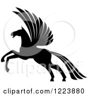 Clipart Of A Black And White Winged Horse Pegasus Ready To Take Flight 4 Royalty Free Vector Illustration by Vector Tradition SM