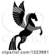 Clipart Of A Black And White Winged Horse Pegasus Rearing Royalty Free Vector Illustration by Vector Tradition SM