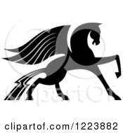 Clipart Of A Black And White Winged Horse Pegasus Prancing Royalty Free Vector Illustration by Vector Tradition SM