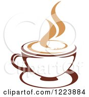 Clipart Of A Brown Coffee Cup On A Saucer With Tan Steam 4 Royalty Free Vector Illustration