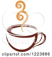 Clipart Of A Brown Coffee Cup With Tan Steam 2 Royalty Free Vector Illustration