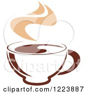Clipart Of A Brown Coffee Cup With Tan Steam 3 Royalty Free Vector Illustration