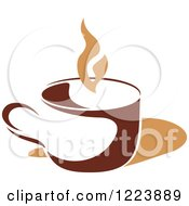 Clipart Of A Brown Coffee Cup With Tan Steam Royalty Free Vector Illustration