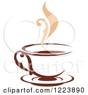 Clipart Of A Brown Coffee Cup On A Saucer With Tan Steam Royalty Free Vector Illustration