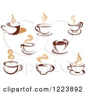 Clipart Of Brown Coffee Cups With Tan Steam Royalty Free Vector Illustration