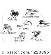 Clipart Of Horses With Text 5 Royalty Free Vector Illustration