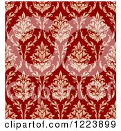 Clipart Of A Seamless Pattern Of Damask In Tan And Red Royalty Free Vector Illustration