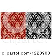 Clipart Of Seamless Patterns Of Damask In Black And White And Tan And Red Royalty Free Vector Illustration