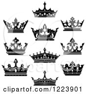 Clipart Of Black And White Crowns 5 Royalty Free Vector Illustration