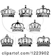 Clipart Of Black And White Crowns 6 Royalty Free Vector Illustration