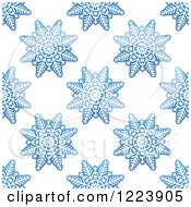 Clipart Of A Seamless Pattern Background Of Blue Snowflakes 3 Royalty Free Vector Illustration