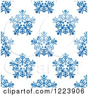 Clipart Of A Seamless Pattern Background Of Blue Snowflakes 2 Royalty Free Vector Illustration