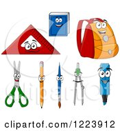 Clipart Of School Supply Characters Royalty Free Vector Illustration