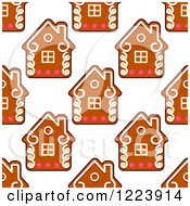 Clipart Of A Seamless Pattern Background Of Christmas Gingerbread House Cookies Royalty Free Vector Illustration by Vector Tradition SM