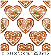 Clipart Of A Seamless Pattern Background Of Christmas Gingerbread Heart Cookies Royalty Free Vector Illustration by Vector Tradition SM