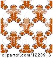 Clipart Of A Seamless Pattern Background Of Christmas Gingerbread Man Cookies Royalty Free Vector Illustration by Vector Tradition SM