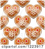 Clipart Of A Seamless Pattern Background Of Christmas Gingerbread Heart Cookies 2 Royalty Free Vector Illustration by Vector Tradition SM