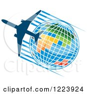 Clipart Of A White Airplane Flying Over A Colorful Pixel Globe Royalty Free Vector Illustration by Vector Tradition SM