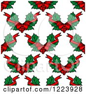 Clipart Of A Seamless Pattern Background Of Christmas Holly Royalty Free Vector Illustration