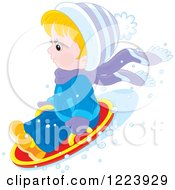 Clipart Of A Winter Boy Tubing In The Snow Royalty Free Vector Illustration