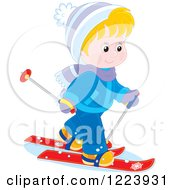 Clipart Of A Happy Winter Boy Cross Country Skiing Royalty Free Vector Illustration by Alex Bannykh