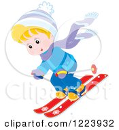 Clipart Of A Happy Winter Boy Skiing Down Hill Royalty Free Vector Illustration by Alex Bannykh