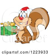 Clipart Of A Cute Christmas Squirrel Holding A Present Royalty Free Vector Illustration by Hit Toon