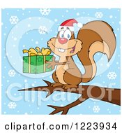Clipart Of A Cute Christmas Squirrel Holding A Present On A Branch In The Snow Royalty Free Vector Illustration by Hit Toon