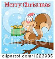 Clipart Of A Merry Christmas Greeting Over A Squirrel Holding A Present And Snowflakes Royalty Free Vector Illustration by Hit Toon