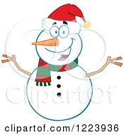 Clipart Of A Cheerful Christmas Snowman Royalty Free Vector Illustration by Hit Toon