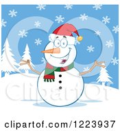 Clipart Of A Cheerful Snowman On A Snowy Hill Royalty Free Vector Illustration by Hit Toon