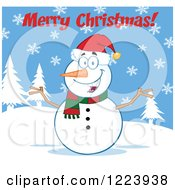 Clipart Of A Merry Christmas Greeting Over A Cheerful Snowman On A Snowy Hill Royalty Free Vector Illustration by Hit Toon