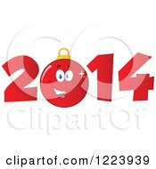 Clipart Of A Red Christmas Bauble Ornament In Year 2014 Royalty Free Vector Illustration by Hit Toon