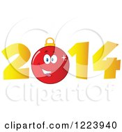 Clipart Of A Red Christmas Bauble Ornament In Golden Year 2014 Royalty Free Vector Illustration