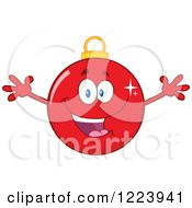 Clipart Of A Cheering Red Christmas Bauble Ornament Royalty Free Vector Illustration by Hit Toon