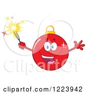 Clipart Of An Excited Red Christmas Bauble Ornament With A Sparkler Royalty Free Vector Illustration