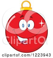 Clipart Of A Happy Red Christmas Bauble Ornament Royalty Free Vector Illustration