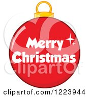 Clipart Of A Red Bauble Ornament With Merry Christmas Text Royalty Free Vector Illustration by Hit Toon
