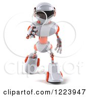 Clipart Of A 3d White And Orange Techno Robot Using A Magnifying Glass 2 3 Royalty Free Illustration