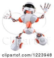 Clipart Of A 3d Energetic White And Orange Male Techno Robot Jumping Royalty Free Illustration