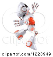 Clipart Of A 3d Energetic White And Orange Male Techno Robot Jumping 2 Royalty Free Illustration