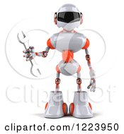 Clipart Of A 3d White And Orange Male Techno Robot Holding A Wrench Royalty Free Illustration