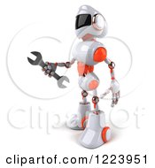Clipart Of A 3d White And Orange Male Techno Robot Holding A Wrench 2 Royalty Free Illustration