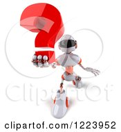 Clipart Of A 3d White And Orange Male Techno Robot Holding A Question Mark Royalty Free Illustration