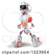 Clipart Of A 3d White And Orange Male Techno Robot Walking 2 Royalty Free Illustration